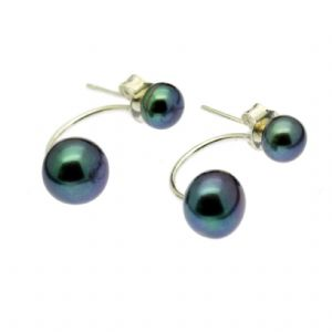Double Pearl Earrings Black Cultured Pearls Sterling Silver